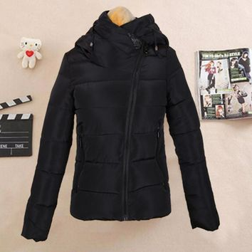 Down cotton-padded jacket and cap personality cotton coat Black