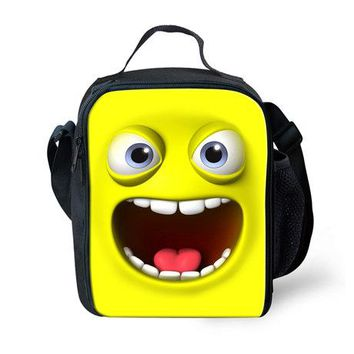 2016 Yellow Emoji Funny Face Design Lancheira Bags for Kids/boys&girls Casual Lunch Bag Picnic Bolsa Termica Thermal Lunch Box