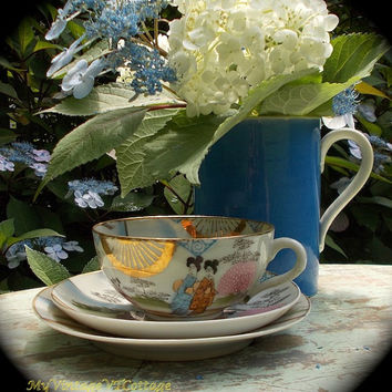 Antique Tea Cup and Saucer Trio - Japanese Geisha - Hand Painted Porcelain - Pink and Gold