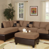 Microfiber Reversible Sectional Sofa with Ottoman F7616