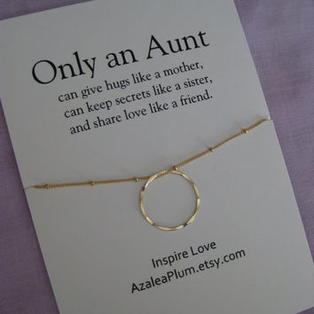 Aunt Necklace. GOLD Eternity Circle Necklace for Aunt. 50th Birthday Gift Aunt Jewelry. Gift for Aunt