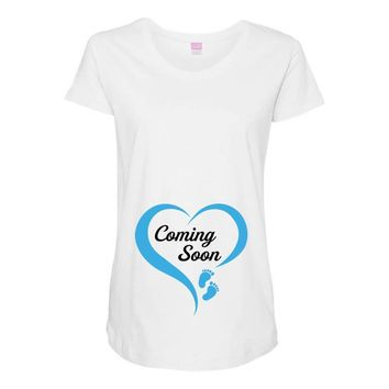 coming soon baby boy maternity design Maternity Scoop Neck T-shirt