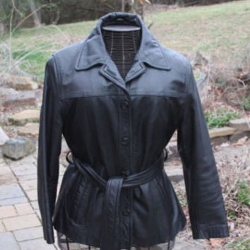 Wilson Vintage Leather Jacket Black Coat Zip Out Lining Size Large