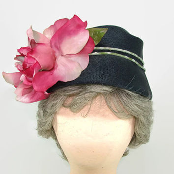 Vintage Navy Blue Woven Straw Hat with Pink Silk Cabbage Rose Flower Cloche Flapper Hat