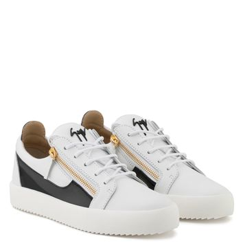 Giuseppe Zanotti Gz Frankie White Calfskin Leather Low-top Sneaker With Black Patent Leather Insert - Best Deal Online