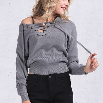 Apparel Lace Up Winter Sweater Casual Loose Belt Ribbed Top Knitwear Jumper