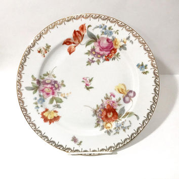 Old Meissen Floral Serving Platter, Tirschenreuth Bavarian Porcelain, Orange Yellow Pink Flowers Pattern 3810, Vintage Collectible China