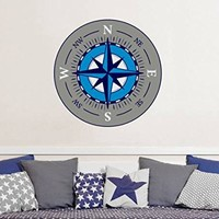 "Compass Rose Wall Decals Travel Full Color Murals Nautical Vinyl Sticker Decal Sea Ocean Nursery Boys Bedroom Decor Art EN55 (22"" Tall x 22"" Wide)"