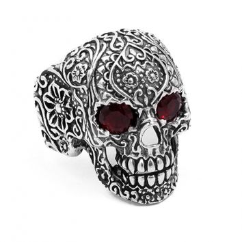 """Sugar Skull"" Ring by Billy Rebs (Silver/Red CZ)"