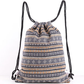 Aztec Native Drawstring Bag Rustic Drawstring Backpack Sack Pack Day Pack Laundry Bag