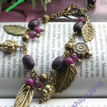 Retro copper flower with 4 leaves purple beads by toofashion2010