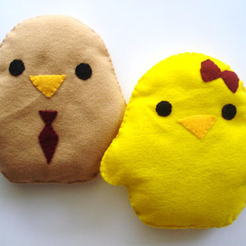 For Him and Her - Cute Handmade and Handsewn Felt Kawaii Chick Plush Felt Animal Pillow or Gift, Original Design