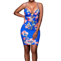 Sexy Women Dress 2017 Floral Print Summer Off Shoulder Strapless Mini Pencil Dresses For Women Lady Bodycon Party Dress Vestidos