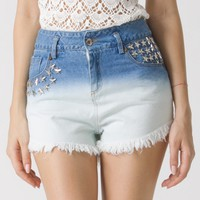 Blue Dyed Star Studded Denim Cutoff Shorts