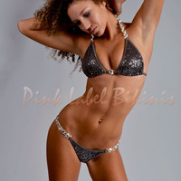 So Cruel Gunmetal Sequin Competition Bikini Swimsuit w Crystal Buckles for Contests & Pageants