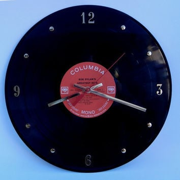 "BOB DYLAN Vinyl Record Wall Clock ""Bob Dylan's Greatest Hits"" by RecordsAndStuff"