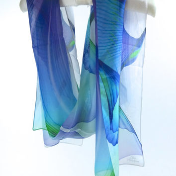 "Long Silk Chiffon Scarf - ""Wings Series 9"" design in 2 color choices. Versatile accessory. This will be your go-to scarf!"