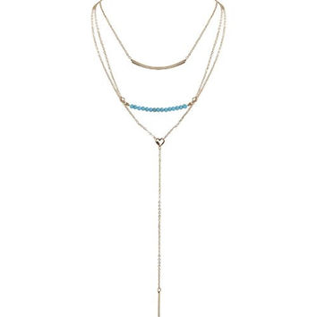 Humble Chic Women's Layered Boho Necklace - Gold - Multi Strand Turquoise Long Chain Lariat