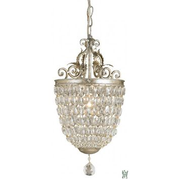Currey and Company 9004 Bettina - One Light Pendant, Silver Leaf Finish
