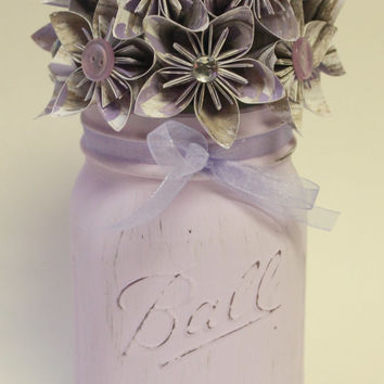 Lilac Mist Jar / Mason Jar Decor / Painted Mason Jar / Flower Mason Jar / Spring Mason Jar / Paper Flowers / Wedding Mason Jar