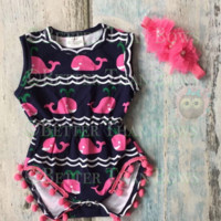 RTS-2pc Baby Girl Whales Set, Baby Girl Romper, Baby Girl Headband