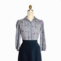 Vintage 80s Gray & Purple Floral Blouse / 3/4 Sleeve Blouse  - women's petite small