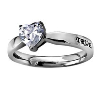 """Christian Womens Stainless Steel Abstinence 3mm 1 Timothy 4:12 """"True Love Waits"""" CZ Heart Solitaire Chastity Ring for Girls - Girls Purity Ring - Comfort Fit Ring"""