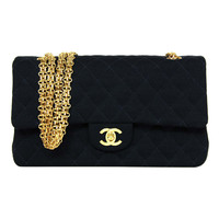 Chanel Navy Quilted Jersey Classic Bag W/goldtone Hardware