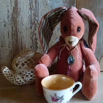 MADE TO ORDER Vintage Velvet Rabbit: vintage style, soft sculpture, artist bear, fabric art doll animal (rabbit, bunny).