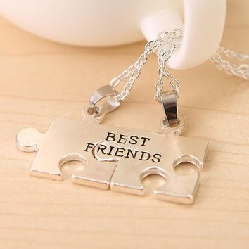 Charming Splice Heart Pendant Broken Heart Parts 2 Best Friend Necklaces Share With Your Friends.Best Friends Puzzle Pendant