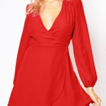 Sweet Plunge Neck Solid Color Lantern Sleeve Mini Dress For Women