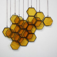 Stained Glass Honeycomb Drops (set of 10)