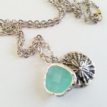 Sand Dollar Necklace with accent stone, mother's day, wife, sister, daughter, bridesmaid gift, beach wedding jewelry, maid of honor