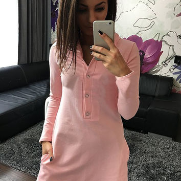 Women's Summer Style Long Sleeve Pink Button Shirt Dress