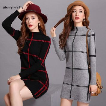 Merry Pretty winter women elegant tunic loose half turtleneck knee length plaid dress long patchwork sweater dresses plue size