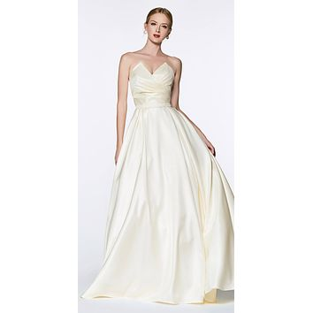 Long Strapless Ball Gown Cream Pointed Sweetheart Pleated Bodice