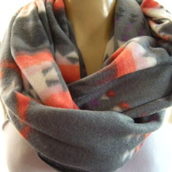 Native..Classic Gray..sunset pink and a touch of purple ..Super warm and cozy...Infinity Scarf..Alaska collection