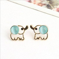 cute hollow out elephant ear stud earrings