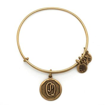 Alex and Ani Initial Q Charm Bangle Bracelet - Rafaelian Gold Finish