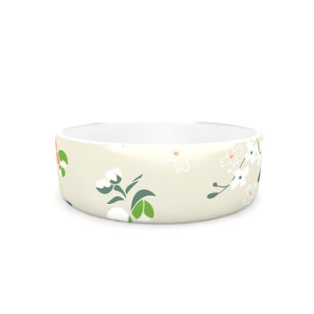 "Very Sarie ""Early Waking"" Green Floral Pet Bowl"