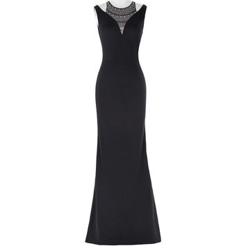 Halter Beaded Evening Dress Floor Length Sleeveless Formal Dress Black Mermaid Evening Gown