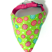 Lime Green Snowflake Christmas Winter Holiday Monogrammed/Personalized Slip On Dog Puppy Over Collar Bandana Neckerchief Fashion Accessory