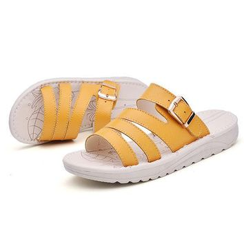 Summer Cow Leather Flat Platform Sandals For Women