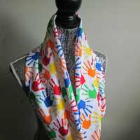 Teacher Paint Hand Prints Colorful Infinity Scarf