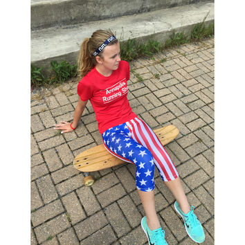 USA Flag Patriotic Athletic Running Capri Tights