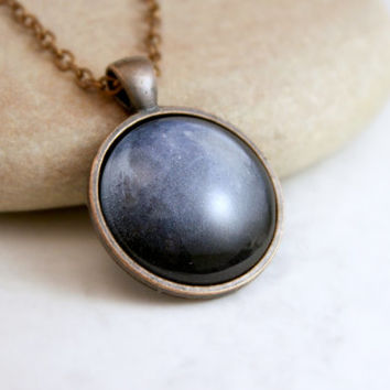 Pluto, Navy Blue Necklace, Galaxy Jewelry, Antique Copper Pendant,Glass Cabochon Pendant With Chain