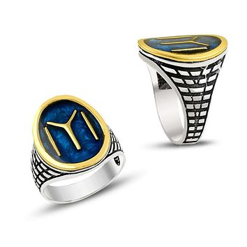 IYI monogram with blue enamel 925k sterling silver mens ring