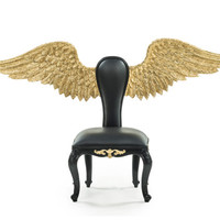 Baroque Gold Gilt Angel Wing Chair Hand Carved in Solid Mahogany