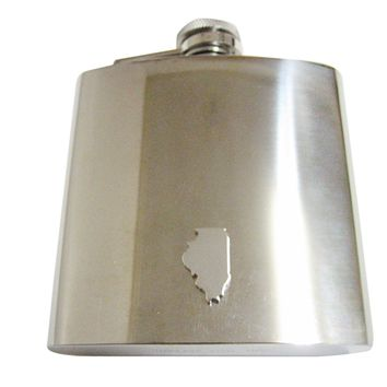 Illinois State Map Shape 6 Oz. Stainless Steel Flask