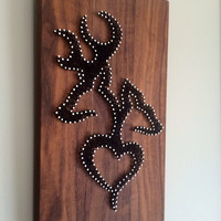 Browning string art on walnut wood! 8 x 13.5""